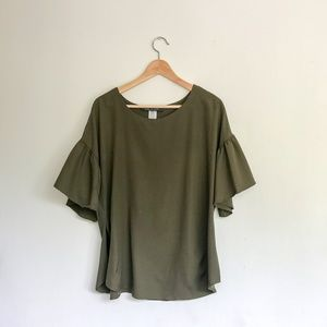 Olive Green Bell-Sleeve Top